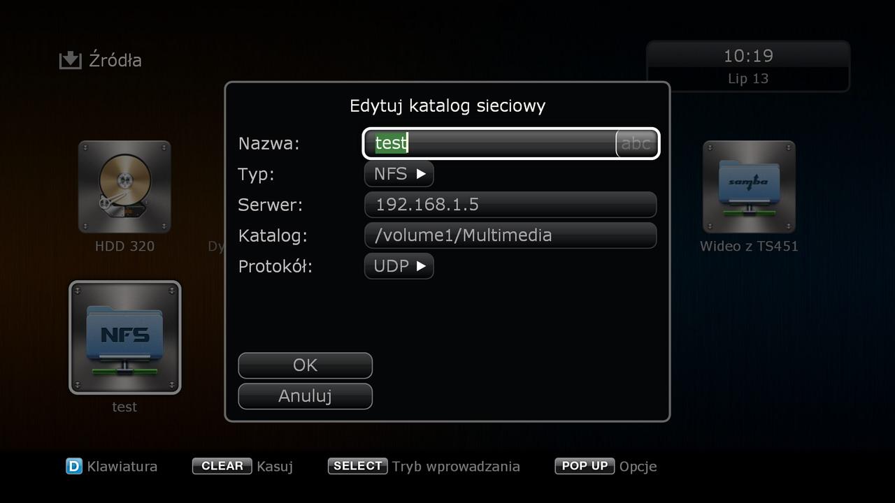 DuneHD Solo4k - shortcut no Synology NFS source