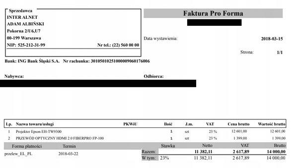 EPSON TW9300 + uchwyt PRG3-EXA + kalibracja - GWARANCJA