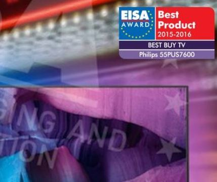 Telewizor PHILIPS 55PUS7600 doceniony przez EISA: EUROPEAN BEST BUY TV 2015-2016