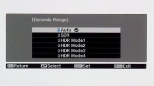 menu HDR Epson TW9300