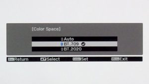 menu szeroki gamut Epson TW9300