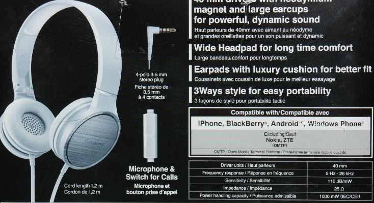 Spec Panasonic RP-HF500