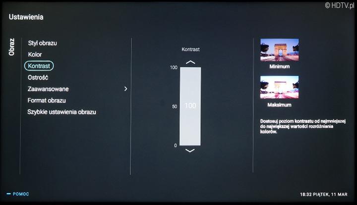 """Suwak """"kontrast"""" w menu głównym - to nim zmieniamy jasność telewizora."""