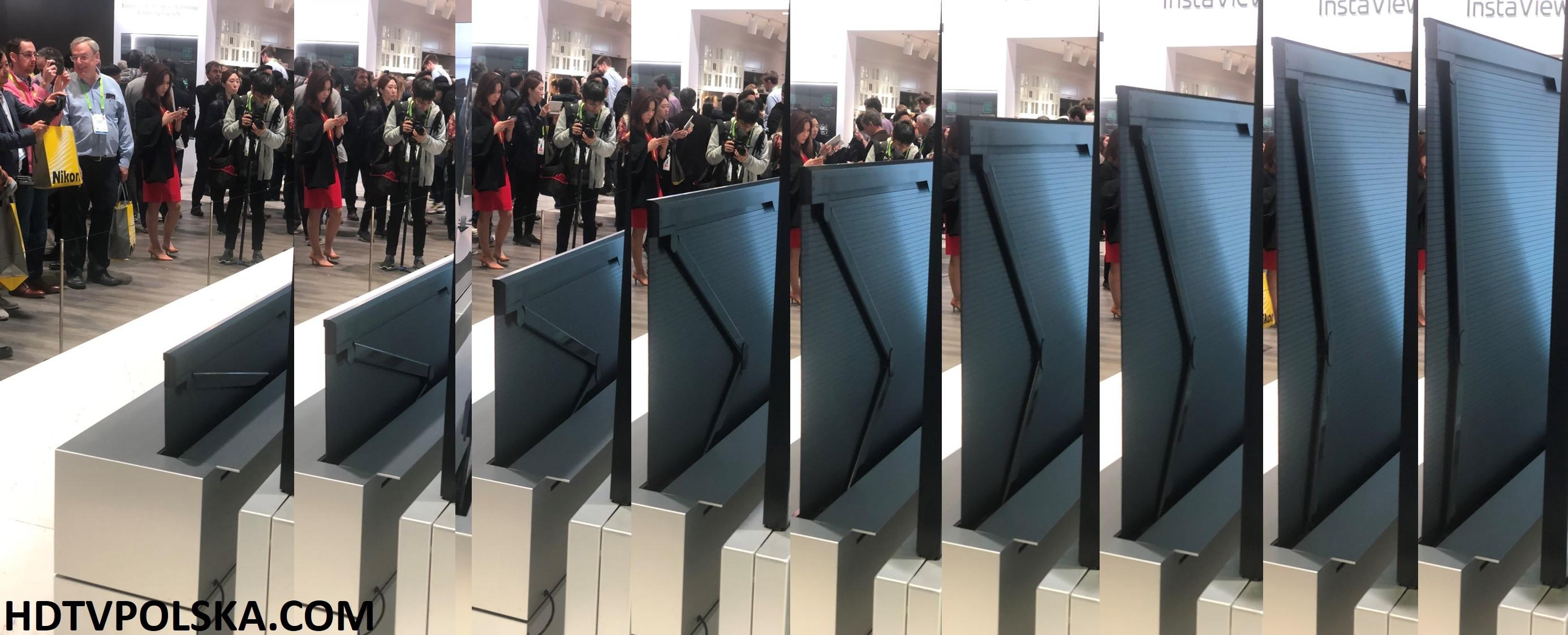 Rolowany TV LG OLED R proces składania
