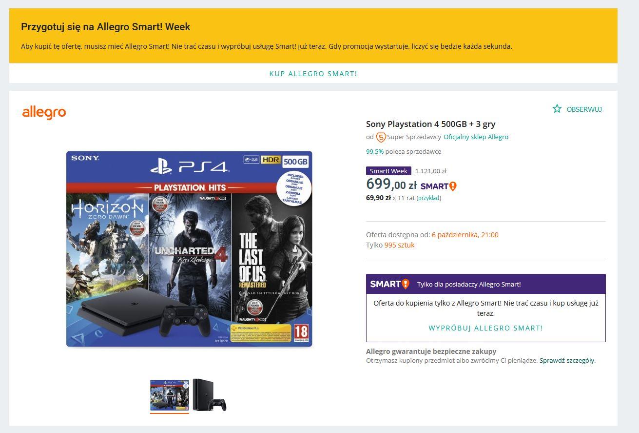 Promocja PS4 za 699zł allegro smart week