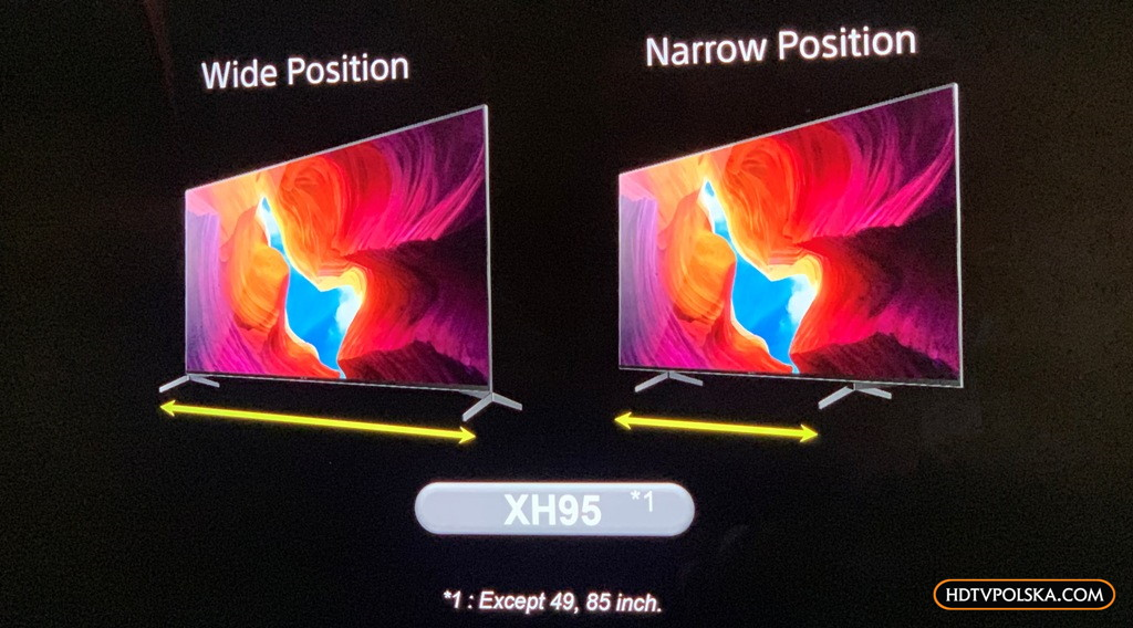 Nowe telewizory Sony LCD XH95 regulowana podstawa