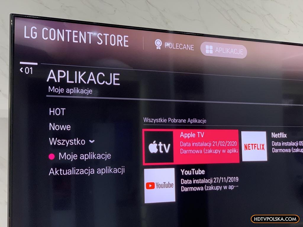 Test aplikacja apple tv telewizor lg oled nanocell 1