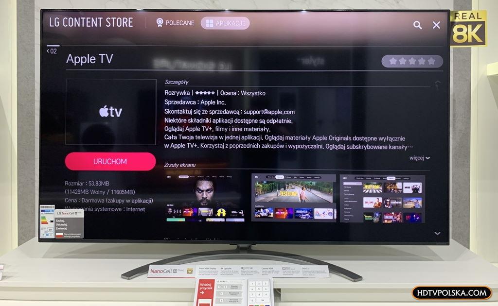 Test aplikacja apple tv telewizor lg oled nanocell 2