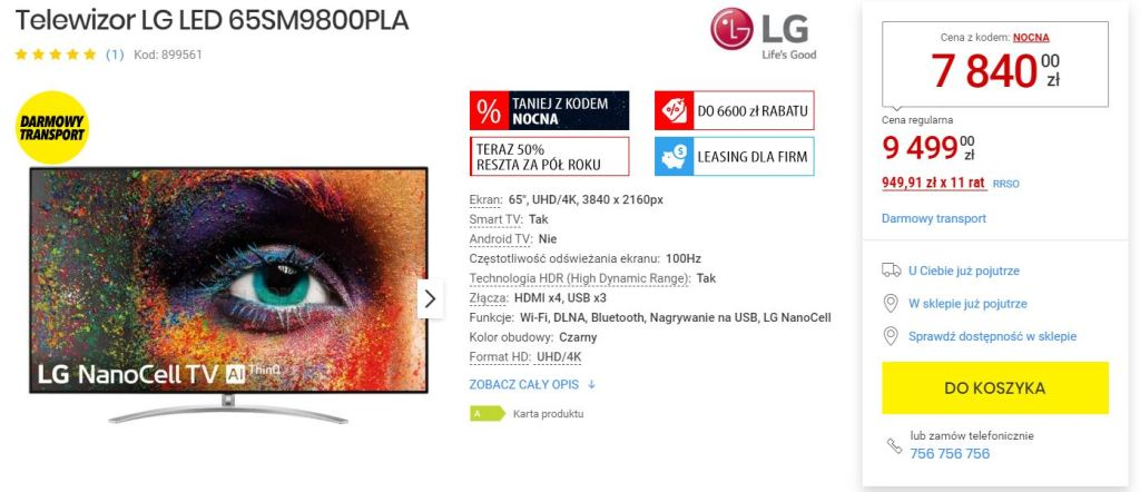 Flagowy Telewizor LG SM9800 promocja media expert