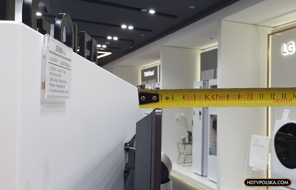 LG OLED GX grubość 2cm test