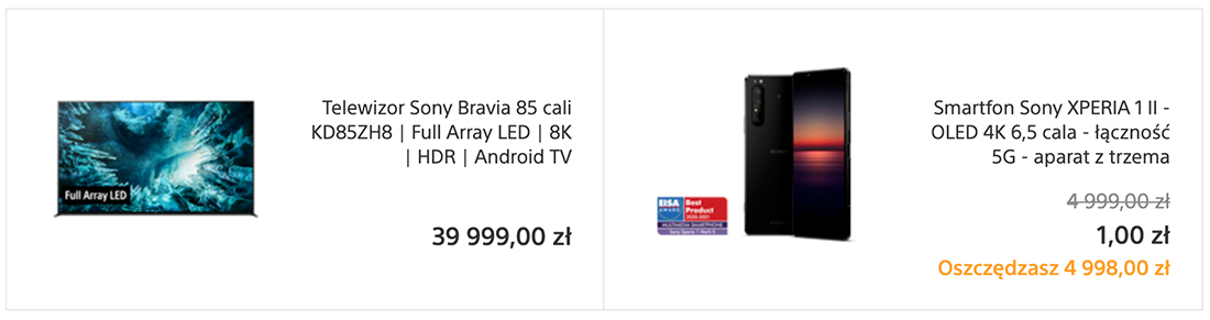"""Flagowy Sony ZH8 8K 85"""" TV z HDMI 2.1 w zestawie z wartym aż 5000 zł smartfonem Xperia 1 II lub topowym soundbarem! Gdzie?"""