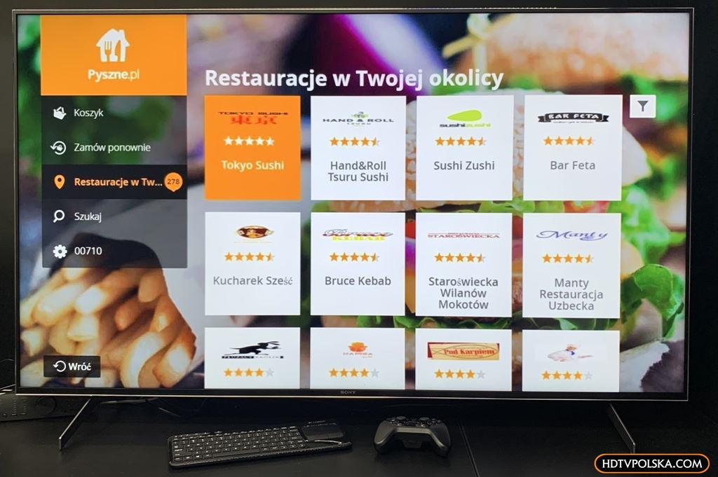 Test system Android TV Sony 2020 aplikacje pyszne