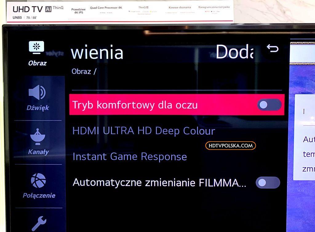 LG UN85 120Hz HDMI 2.1 promocja menu