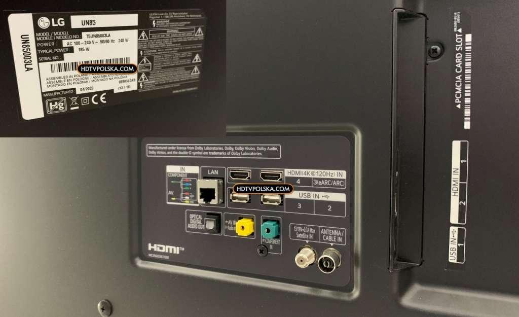 LG UN85 120Hz HDMI 2.1 promocja porty hdmi 2.1