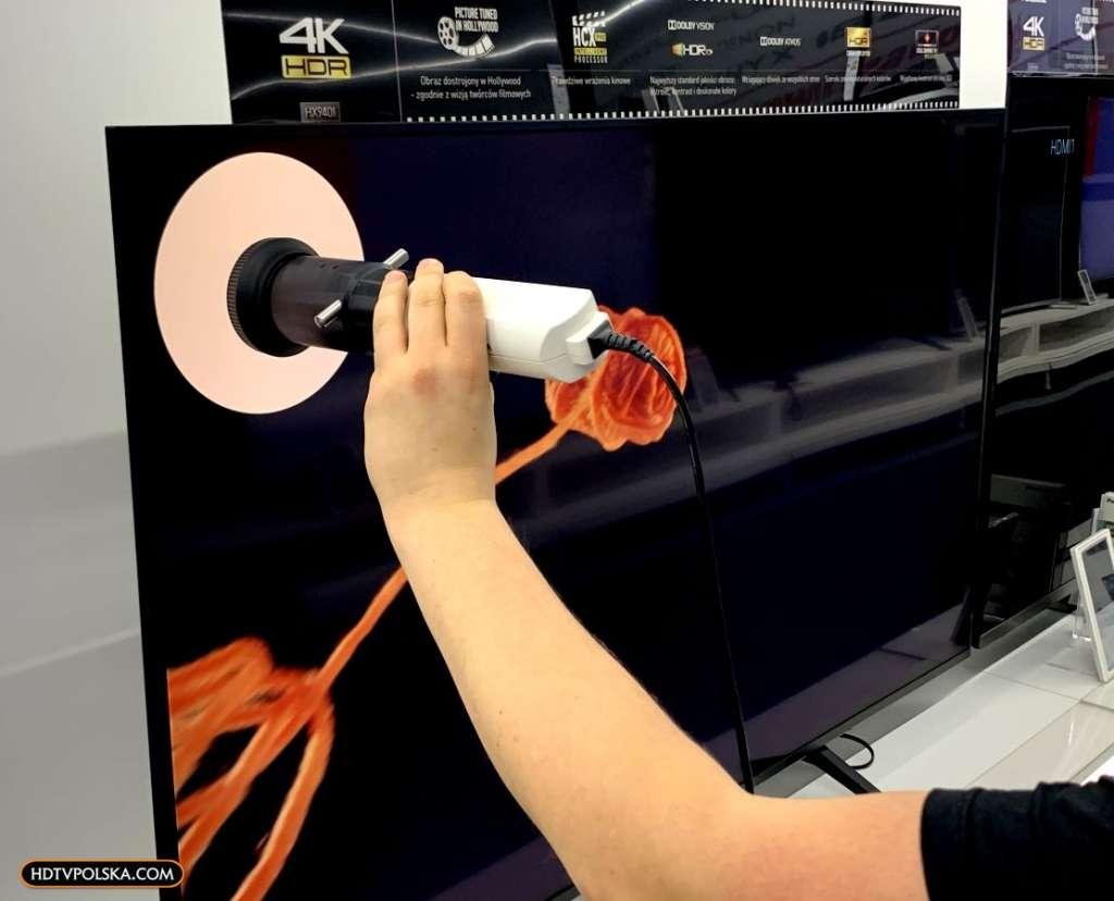 Test Panasonic HX940 LCD kontrast czerń pomiar