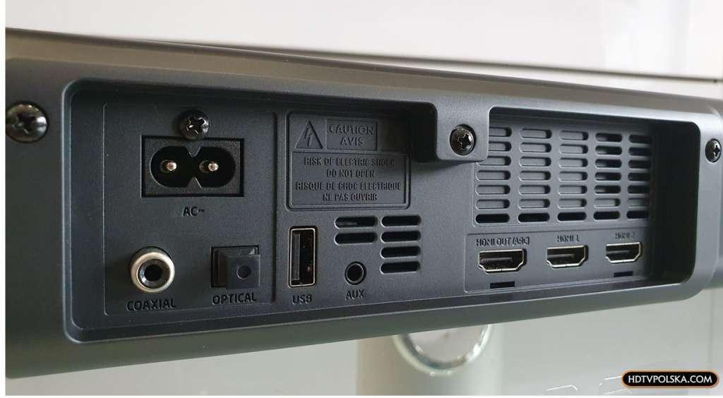 Test Sharp HT-SBW460 Dolby Atmos porty hdmi