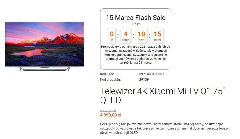 Telewizor Xiaomi Mi TV Q1 QLED 75 cali przesprzedaż sklep