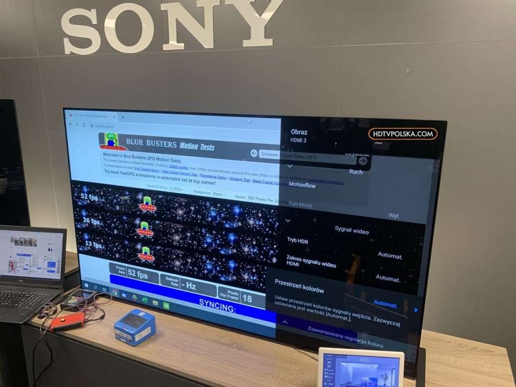 Test telewizorów Sony Bravia 2021 pomiary A90J ruch