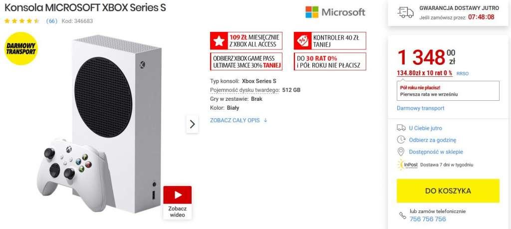Xbox Series S zestaw cyberpunk media expert dostępność