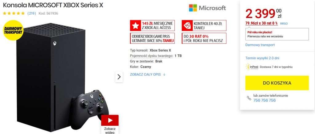 Xbox Series X media expert dostępność