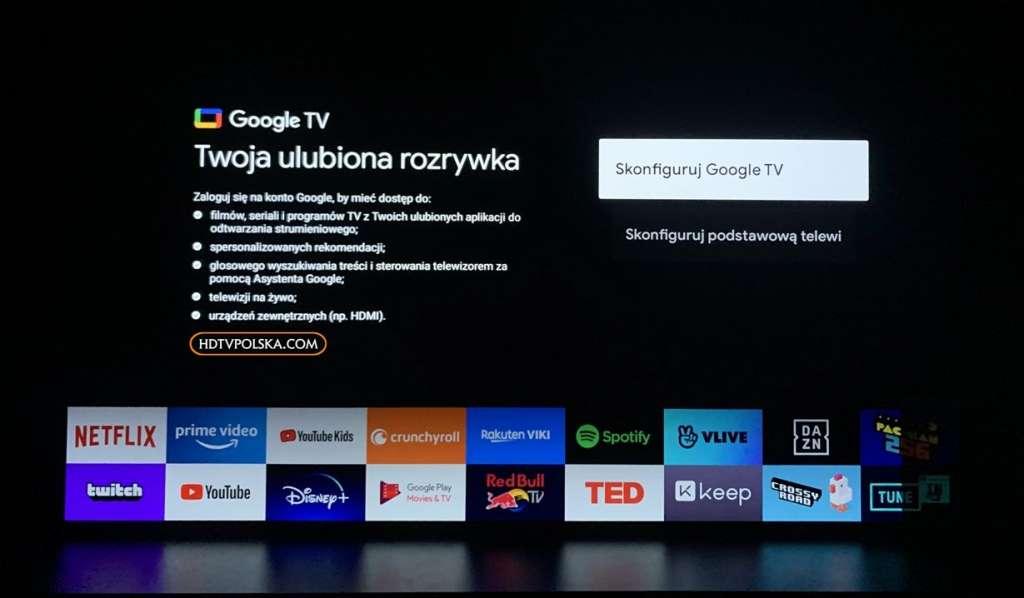 Zapowiedź otwieramy test Sony BRAVIA XR OLED A90J Google TV ekran startowy