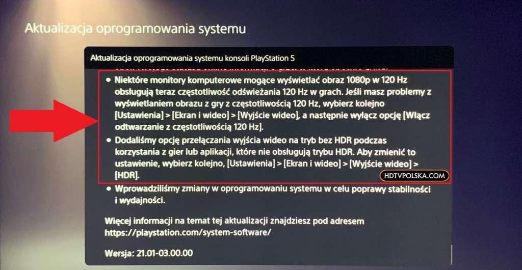 Aktualizacja oprogramowania PS5 120Hz HDR