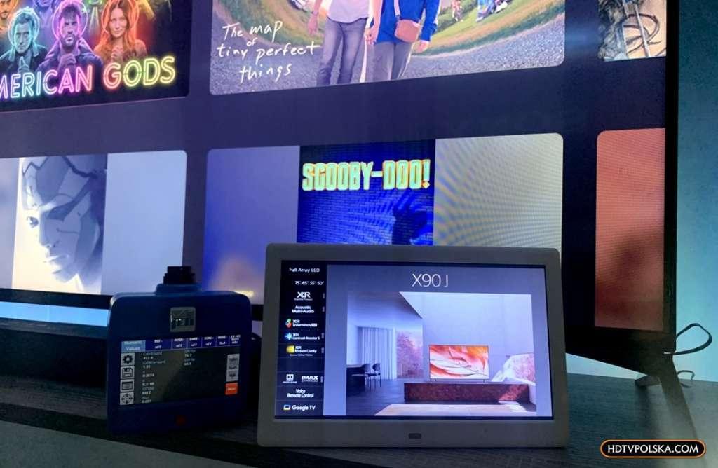 Google TV Sony BRAVIA XR LED X90J 4K pomiar