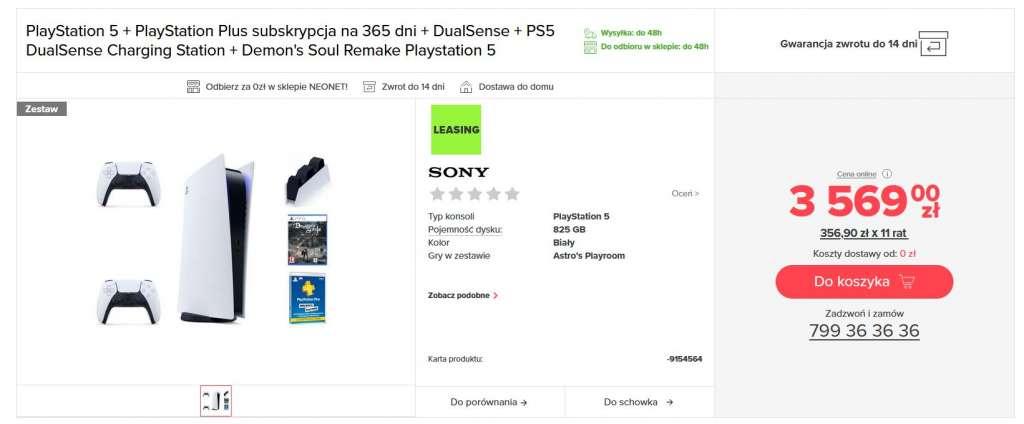 Konsola PS5 neonet nowy zestaw