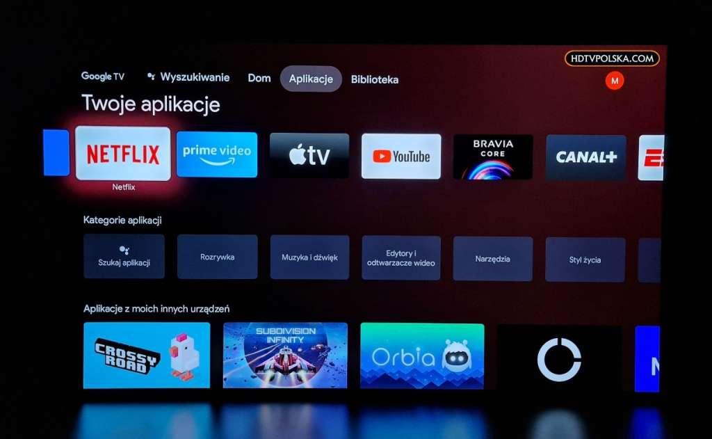 Pierwsze wrażenia test Sony BRAVIA XR OLED A90J Google TV menu główne