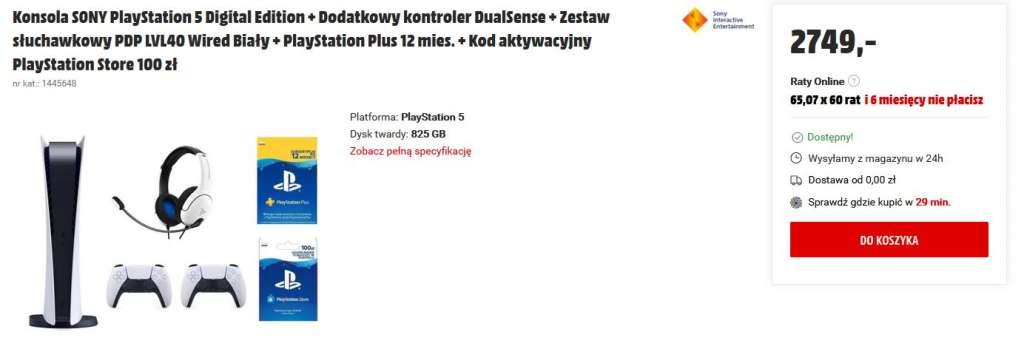 PlayStation 5 media markt digital wersja