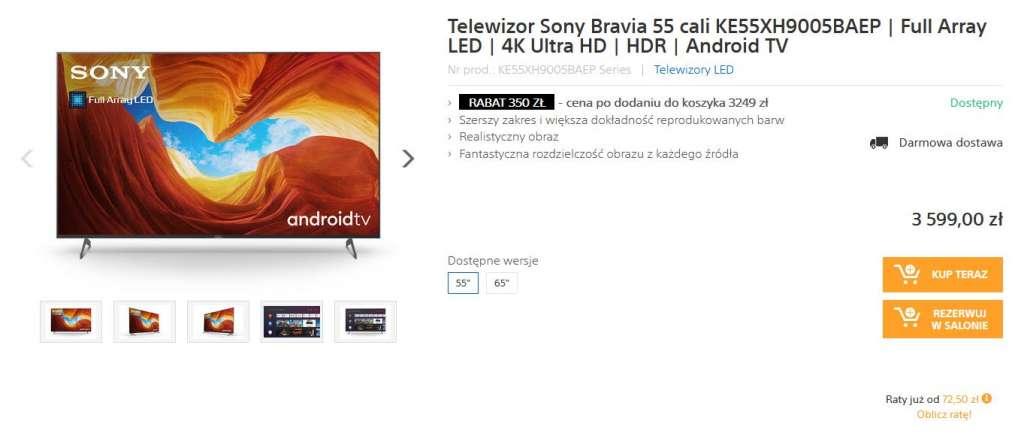 Promocja Sony Centre XH90 telewizor