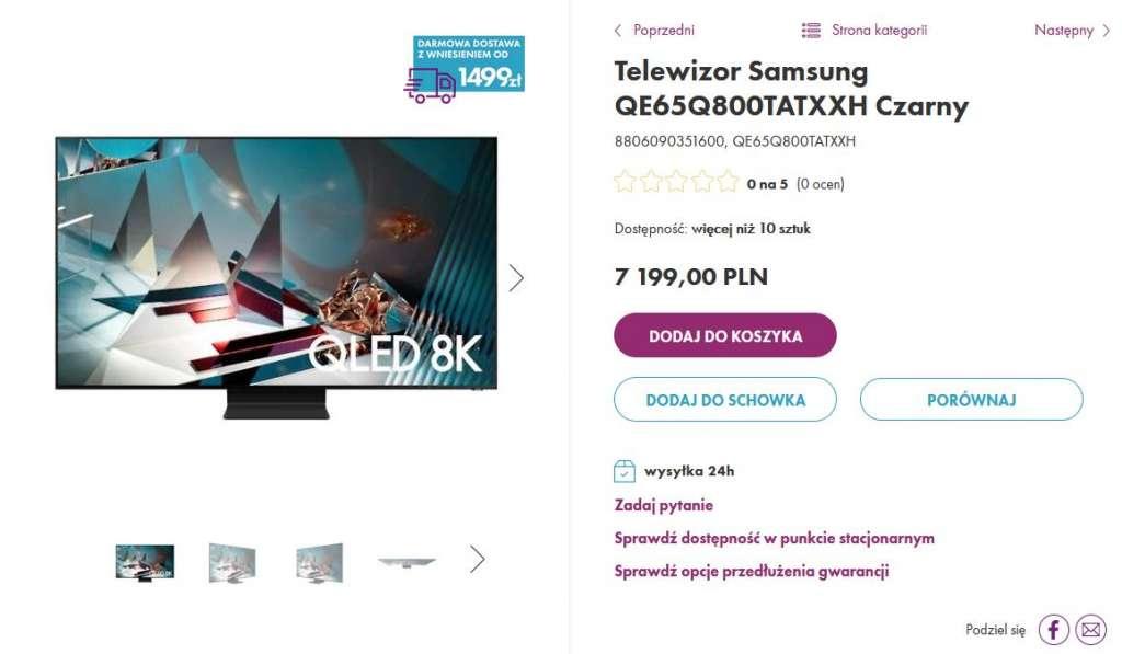 Samsung QLED Q800T hdmi 2.1 wyprzedaż vobis