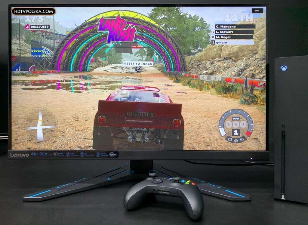 Test Monitor Lenovo G27q-20 Xbox Series X Dirt 5