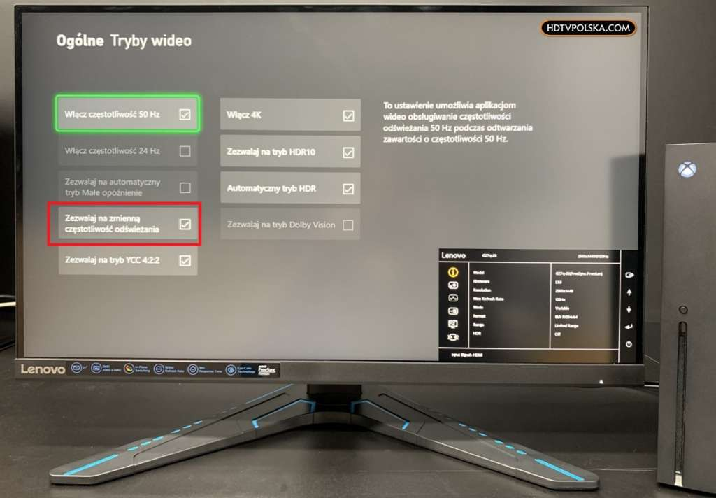 Test Monitor Lenovo G27q-20 Xbox Series X VRR AMD FreeSync