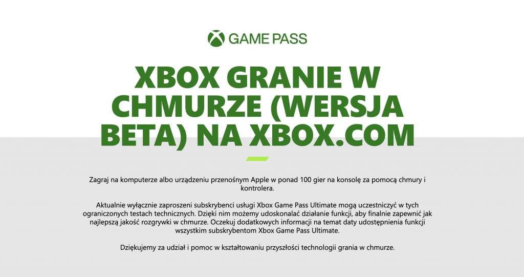 Xbox Game Pass już działa w chmurze na komputerach z Windows i urządzeniach Apple! Tylko dla zaproszonych - kto może testować?