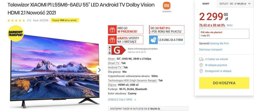 Najnowsze telewizor 4K Xiaomi P1 z Android TV i Dolby Vision już w polskich sklepach! Genialne ceny - czy jakość też imponuje? Gdzie kupić?