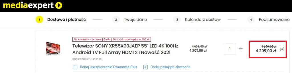 Sony X90j w media expert najtaniej promocja