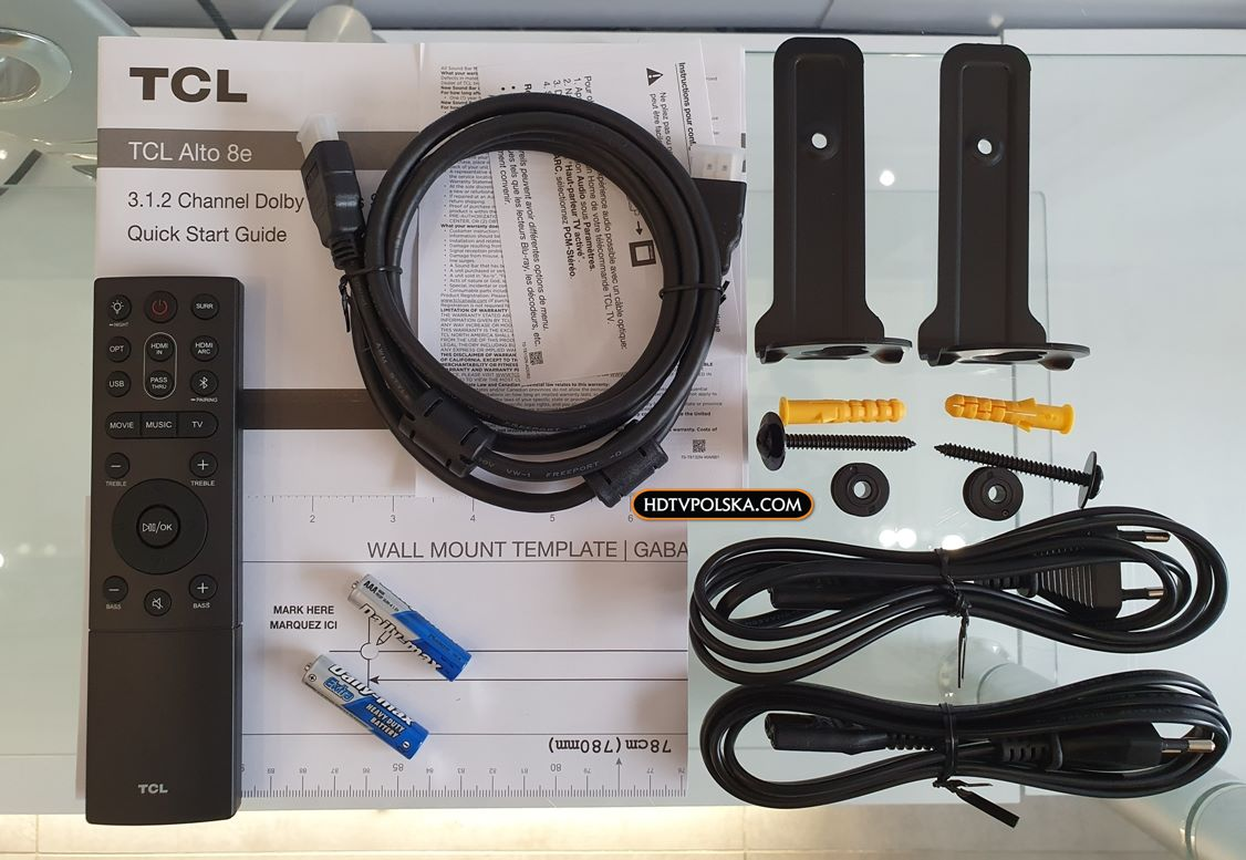 Test soundbar TCL Alto 8e TS8132 akcesoria