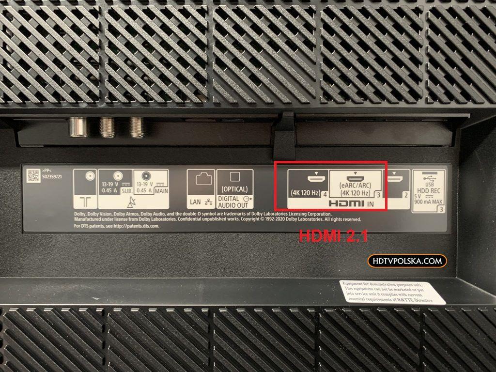 Test Sony BRAVIA XR A80J OLED Google TV porty hdmi 2.1